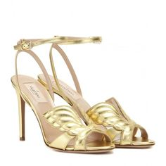 Valentino Angelicouture Metallic Leather Sandals ($915) ❤ liked on Polyvore featuring shoes, sandals, heels, valentino, gold, metallic shoes, leather shoes, metallic heel sandals, golden shoes and leather sandals
