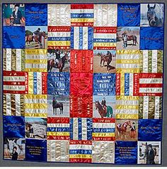 Quilt made out of your old horse show ribbons--someday I will do this.Wishing I had saved my kids swim ribbons! Horse Ribbon Display, Show Ribbon Display, Horse Show Ribbons, Ribbon Projects, Ribbon Crafts, Fabric Crafts, Diy Crafts, Ribbon Quilt, Horse Quilt