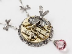 Steampunk Necklace gold pocket watch silver filigree mystic pink quartz pearl dragonfly Statement Necklace Steampunk Jewelry
