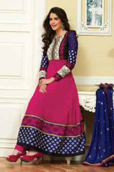 An exclusive online store of Designer Anarkali Suits & Salwar Suits. Casual yet elegant combination of pink and blue anarkali is made of georgette.