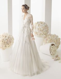 236 MARIOLA Two by Rosa Clara 2014 strapless dress with long-sleeved illusion jacket
