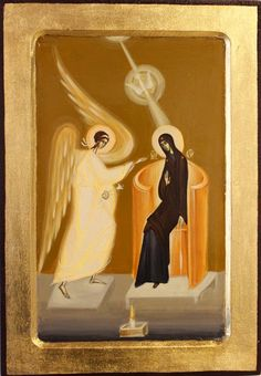 Annunciation by Nica Lucia of Romania Religious Paintings, Religious Art, Modern Art, Contemporary Art, Byzantine Icons, Holy Family, Orthodox Icons, Art For Art Sake, Sacred Art