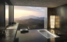 Bathroom. Luxury Open Bathroom Design Stunning Nature View With Large Clear Glass Paneling Plus Undermount Bathtub On Black Gloss Finish Hardwood Floor With Small Bathroom Renovations And Modern Bathroom Designs. Small Luxury Bathrooms Design Inspiration