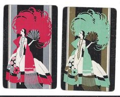 Lady  -- set of 2 linen  single vintage swap playing cards / #Vintage