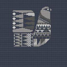 Danish Bird Cross Stitch Pattern PDF Pillow by WallflowerCushions