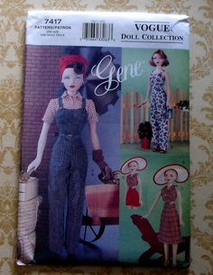 Vogue GENE Doll 40's Style Sportswear Clothes Sewing Pattern