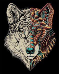 """""Ornate Wolf"" 100% digital Rad artwork by @bioworkz! www.illustratedmonthly.com digital books | vectors | fonts | art supplies"""