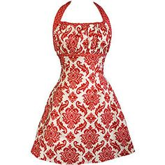 heavenly hostess luxe red halter apron