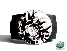 Black and White Cuff Bracelet Italian Leather by CaughtREDhanded, $36.00