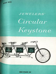 """July 1955. """"A nice shot from when JCK took a vacation to the beach and told all its relatives it'd be 'fun' to rent a tandem bicycle. #JCKMagazine"""