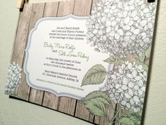 Printed Wedding Invitation and RSVP. Hydrangea and wood, rustic.. $2,70, via Etsy.