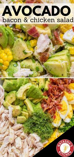 This Avocado Chicken Salad recipe is a keeper! Easy, excellent chicken salad with lemon dressing, plenty of avocado, irresistible bites of bacon and corn. No cooking required for this healthy Chicken Cucumber Avocado Salad. Green Salad Recipes, Salad Recipes Video, Chicken Salad Recipes, Salad Chicken, Recipes With Chicken And Avocado, Chicken Salad With Avocado, Dinner Recipes With Avocado, Lunch Salad Recipes, Delicious Salad Recipes