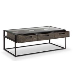 Claremont Rustic Weathered Charcoal Storage Glass Top Coffee Table | Overstock.com Shopping - The Best Deals on Coffee, Sofa & End Tables