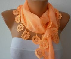 Apricot Scarf  Cotton  Scarf  Headband Necklace by fatwoman, $15.00