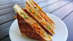 Quick and healthy vegetable sandwich with pav bhaji flavour