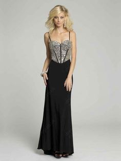 Sheath/Column Sweetheart Chiffon Floor-length Sleeveless Rhinestone Prom Dresses at Dresseshop