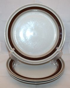 "Iittala Finland Pirtti Dinner Plate Set of 3 Dark Brown Band 26cm 10.25"" Vintage"