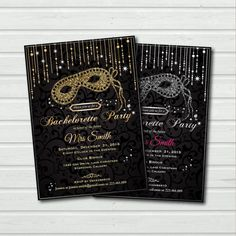 Printable Bachelorette Party Invitation. Masquerade Bachelorette Party invite. Bridal Shower. Glitter black and gold, silver sequin. BC04 on Etsy, $15.00