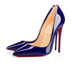 """""""So Kate"""" is a Christian Louboutin signature style known for its pointed toe and superfine stiletto heel. At 120mm, this single-sole court shoe in cool encre patent leather is the secret to ensemble perfection."""