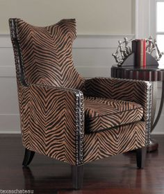 BRITISH COLONIAL WEST INDIES STYLE EXOTIC TIGER ANIMAL PRINT ACCENT ARM  CHAIR Armchair, Wingback Chair