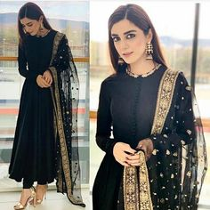 Buy this beautiful black suit she_designer_official fabric georget suit length 53 semi stich upto 44 row silk bottom unstitch net duppata with heavy embroidery work price 1950 shipping extra short suits are about to be the biggest summer trend Pakistani Formal Dresses, Indian Gowns Dresses, Pakistani Dress Design, Pakistani Outfits, Bridal Anarkali Suits, Silk Anarkali Suits, Salwar Suits Party Wear, Sharara Suit, Pakistani Couture