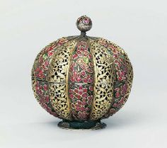 AN ENAMELLED AND GEM-SET SILVER GILT POMANDER DECCAN OR MUGHAL, LATE 17TH CENTURY