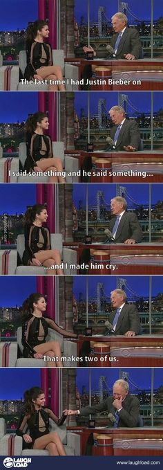 David Letterman and Selena Gomez made Justin Bieber cry