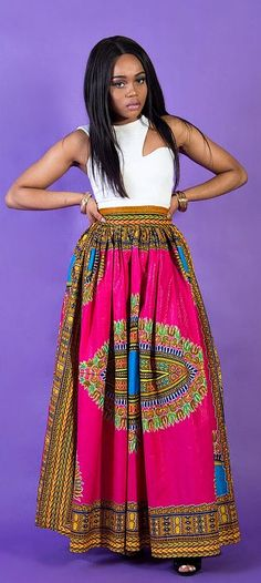Pink African dashiki maxi skirt, perfect for that special date, Christmas parties or birthdays! Perfect dressed up or down. Pink Angelina dashiki maxi skirt, African print skirt for women, Ankara skirt, handmade skirt, long skirt, print skirt, African skirt, color.   Ankara | Dutch wax | Kente | Kitenge | Dashiki | African print dress | African fashion | African women dresses | African prints | Nigerian style | Ghanaian fashion | Senegal fashion | Kenya fashion | Nigerian fashion (affiliate)