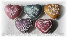 Heart gingerbread Christmas ornaments with TruColor shine colors and lace design - YouTube