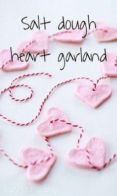 Valentines day salt dough heart garland, fun craft to make with kids! #idea #project #diy