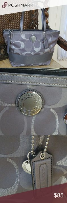 Metallic Coach Tote Bag Excellent condition   Very minimal wear  Pocket in the back as well as inside Coach Bags