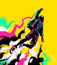 Illustrations - 2019 on Behance Miles Spiderman, Miles Morales Spiderman, Spiderman Art, Amazing Spiderman, Marvel Art, Marvel Heroes, Marvel Avengers, Bd Comics, Marvel Comics