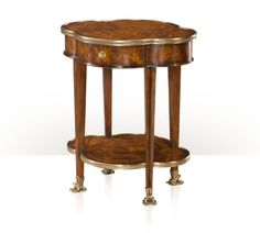 "THEODORE ALEXANDER - ""FROG FOOTED"" mahogany quatrefoil lobed and brass bound lamp table, bowed frieze drawer, square tapering legs, undertier, brass frog feet. The original Louis XVI Cupboards, Cabinets, Theodore Alexander, Occasional Tables, Luxury Furniture Brands, Lamp Table, Louis Xvi, Quatrefoil, Drawer"