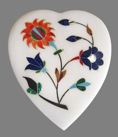 Heart Shaped Marble Trinket or Jewelry Box With Gemstone Floral Inlay Gift Ideas For Men  Women *** This is an Amazon Affiliate link. You can get additional details at the image link.