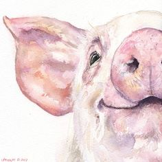 Happy Pig portrait Print of the Original Watercolor Love Painting art cute Sweet painting Decor sweet pink farm animal Glückliche Schwein Porträt Print das Original Aquarell Liebe Cute Paintings, Animal Paintings, Happy Paintings, Farm Paintings, Watercolor Animals, Pink Watercolor, Watercolour Paintings, Art Amour, Art Mignon