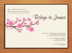 Cherry Blossom Branch Wedding Invitation by Sapphiredigitalworks