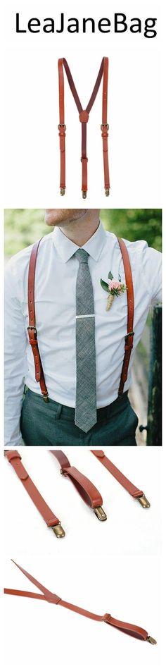 Wedding Suspenders,Reddish Brown Leather Suspenders, Mens Dress Suspenders 0194 Backpack Purse, Clutch Purse, Crossbody Bags, Coin Purse, Tote Bag, Leather Suspenders, Wedding Suspenders, Brown Leather, Leather Bags