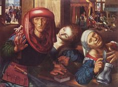 Brothel scene, painted c. 1545-1550.  Jan Sanders van Hemessen was a Flemish Northern Renaissance painter who was part of the mannerist movement. He was born in Hemiksen, then called Heymissen or Hemessen, in the Netherlands but settled in Antwerp in 1524 after studying in Italy.