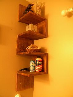 "Corner Shelf- 1x8 cut into 8"" pieces, wood screws, stain, hanging hardware"