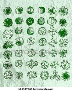 arbres, vue dessus, pour, architecture, conception paysage, projets ... Plans Architecture, Illustration, Landscape, Projects, Illustrations