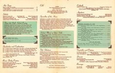 Insane Collection of Vintage LA Menus. You've got to see these 15 Gems.: Inside the menu from the original Brown Derby