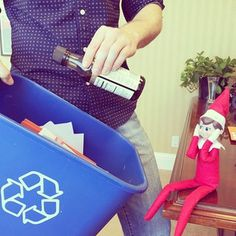 Oh no! Looks like our #elfonashelf caught another naughty recycler. Keep liquids - including gluten free tamari sauce - out of your #recycling bin. Recycle Often. Recycle Right. #RORR #green #holidays #tips