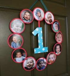 "This 1st birthday wreath greets guests with a year full of pictures.  See more first boy birthday and party ideas at <a href=""http://one-stop-party-ideas.com"" rel=""nofollow"" target=""_blank"">one-stop-party-id...</a>"