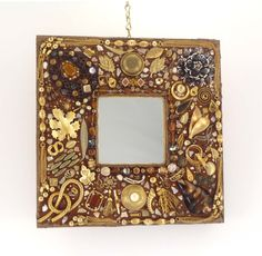 Jeweled Mosaic Mirror Brown and Gold Handmade by Nostalgianmore, $130.00