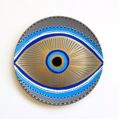 Evil Eye Decor - Decorative Plate - Golden Evil Eye  - Golden and Blue - Evil Eye Wall Art - Modern Art - Wall Hanging - Art Evil Eye