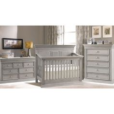 Baby Chic Venice 4-in-1 Convertible Crib in Vintage Grey, gender neutral for boy and girl... very rustic finish!