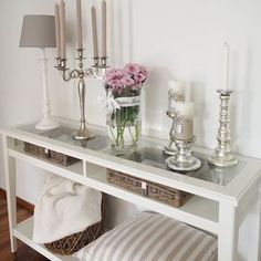 Loving the white style: Silver & Rattan Loving the white style: Silver & Rattan hallway ideas Decor, Romantic Home Decor, Ikea Console Table, Fall Home Decor, Home Decor Bedroom, Living Room Decor, Dining Room Cozy, Entryway Decor, Home Decor Furniture