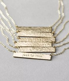 Womens Necklace - 14k Gold Personalized Name Necklace – 1 Øak Silver Bar Necklace, Name Necklace, Necklace Lengths, Arrow Necklace, Engraved Necklace, Personalized Necklace, Silver Rings, Gold Gold, 18k Gold