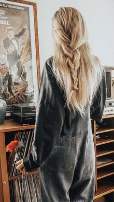 Long loose sides back braid