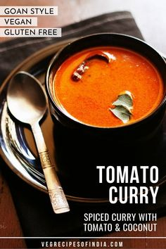 This Goan style spiced curry with tomato and coconut is one that I grew up eating often. This curry is like a soup and is perfect as a side for rice. Whether you are vegetarian or vegan love Indian curry or love soup this recipe is one you have to try! Vegetarian Curry, Vegetarian Recipes Easy, Veg Recipes, Curry Recipes, Indian Food Recipes, Snack Recipes, Cooking Recipes, Aloo Recipes, Cooking Dishes